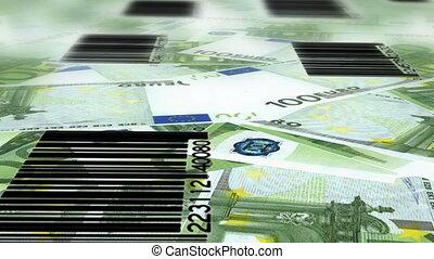 boucle, dollar, code, euro, barre