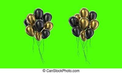 boucle, doré, ballons, paquet, arrière-plan vert