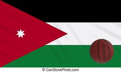 boucle, drapeau, tourne, jordanie, basket-ball, wavers