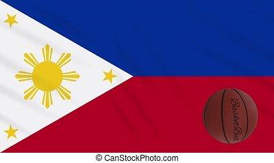 boucle, drapeau, tourne, philippines, basket-ball, wavers, -