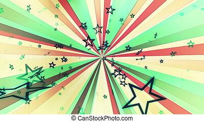 boucle, multicolore, étoiles, retro