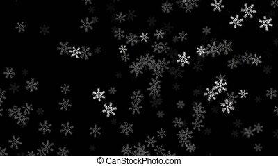 boucle, neige, résumé, hiver, tomber, vert, écran, animation, alpha., seamless