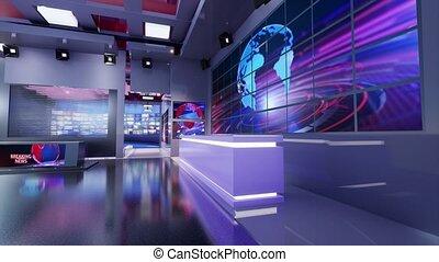 boucle, nouvelles, 3d, virtuel, fond, studio