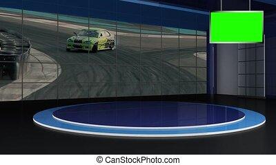 boucle, voiture, 06, virtuel, -, fond, vert, écran, courses