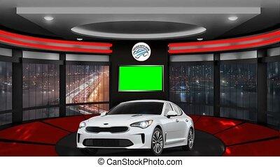 boucle, voiture, 08, virtuel, -, fond, vert, écran, courses