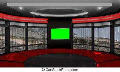 boucle, voiture, virtuel, -, fond, vert, écran, 01, courses