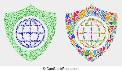bouclier, global, vecteur, triangles, mosaïque, icône