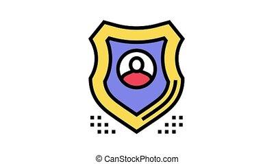 bouclier, humain, protection, animation, icône, couleur