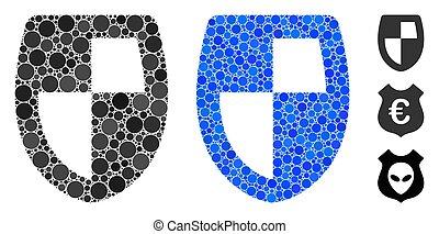 bouclier, icône, cercles, mosaïque