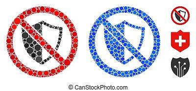 bouclier, icône, mosaïque, cercles, non