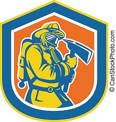 bouclier, pompier, brûler, pompier, tenue, hache