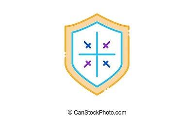 bouclier, protection, icône, animation