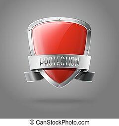 bouclier, protection, réaliste, isolé, gris, arrière-plan., vecteur, lustré, vide, frontière, argent, ruban, rouges
