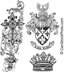 bouclier, redevance, couronne, croix, élément
