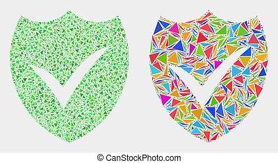 bouclier, vecteur, triangles, valide, mosaïque, icône