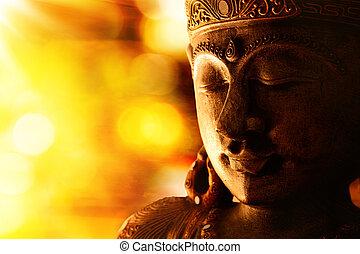 bouddha, bronze, statue