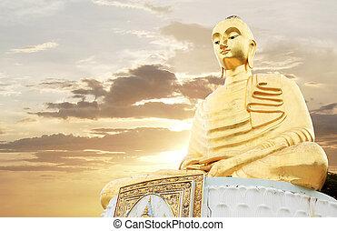 bouddha, levers de soleil, gloden