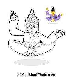 bouddha, livre, statut, enlightenment., dieu, séance, book., pose., indien, meditating., coloration, childrens, arrière-plan., nirvana, lotus, blanc