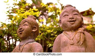 bouddha, mouvement, macro, sculpture, décalage, vidéo, sourire, thailand.
