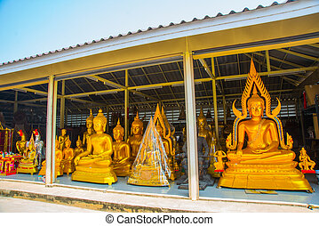 bouddha, statue., doré, thailand., ayutthaya.