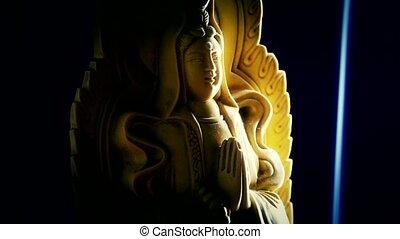 bouddha, suie, fumée, orient, statue