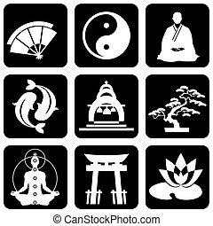 bouddhisme, religieux, signes