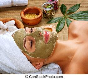 boue, salon, femme, mask., spa
