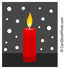 bougie, brûlé, illustration