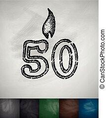 bougie, cinquante, icône