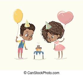 bougie, enfants, dehors, characters., fête, citer, plat, souffler, brûler, anniversaire, americn, caractères, amis, dessin animé, célébrer, cake., garçon, illustration., african-american, vecteur, africaine, cupcake.