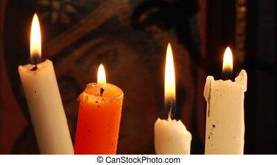 bougie, orthodoxe, chrétien, icône