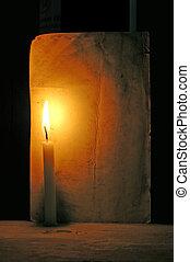 bougie, papier, vieux, lumière
