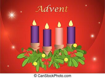 bougies, 4, illustration, rouges, fête, -, vecteur, fond, venue