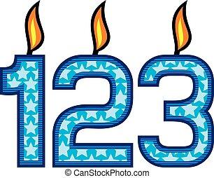 bougies, anniversaire, nombre