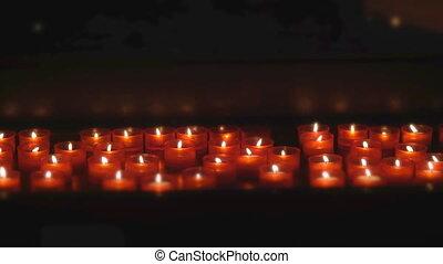 bougies, autel, brûlé, church.