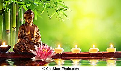 bougies, bouddha, naturel, statue, fond