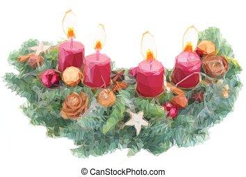 bougies, couronne, venue, brûlé