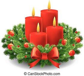 bougies, couronne, venue, noël, brûlé