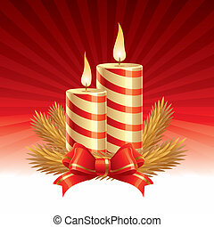 bougies, -, deux, illustration, vecteur, noël