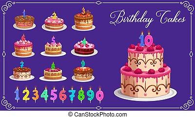 bougies, gâteaux, ensemble, nombres, anniversaire, âge