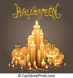 bougies, halloween, couverture, citrouille