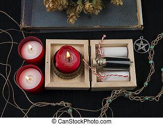 bougies, houblon, occulte, potion, autel
