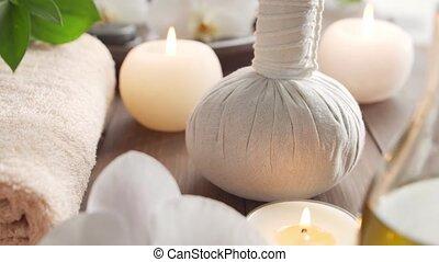 bougies, masser, thérapie, arrière-plan., bien-être, balls., masage, oriental, herbier, serviette, spa, fleurs, meditation., pierres