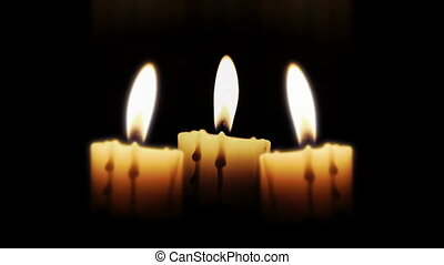 bougies, nuit, haut fin
