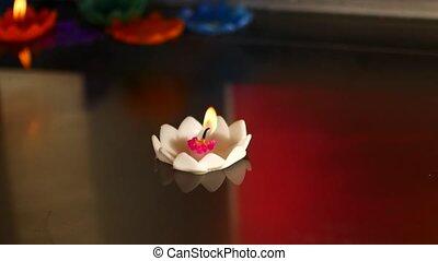 bougies, temple bouddhiste, eau