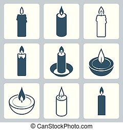 bougies, vecteur, ensemble, icône