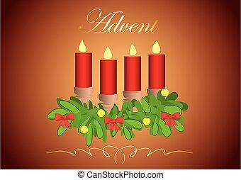 bougies, -, venue, 4, vecteur, illustration, gradient, fond, rouges
