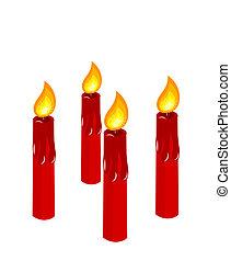bougies, venue, rouges, brûlé