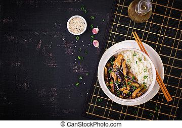 bouilli, chinois, sommet, -, nourriture., poulet, aubergine, frire, riz, remuer, vue