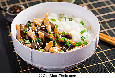 bouilli, nourriture chinoise, -, poulet, aubergine, frire, riz, remuer